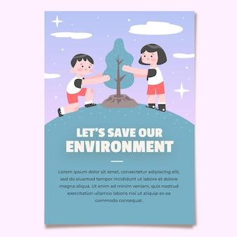 Handgezeichneter flyer zum klimawandel