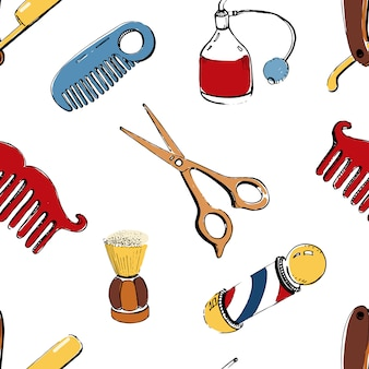 Handgezeichneter friseursalon nahtlos mit zubehörkamm, rasiermesser, rasierpinsel, schere, friseurstange und flaschenspray. buntes illustrationsmuster auf weißem hintergrund.