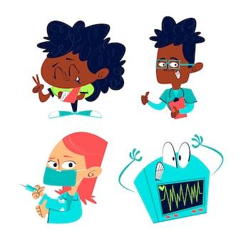 Handgezeichneter gesundheits-illustrationssatz