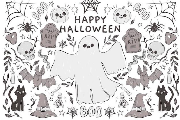 Handgezeichneter halloween-hintergrund