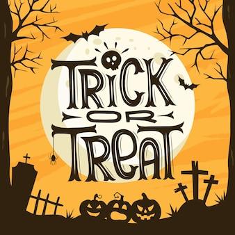 Handgezeichneter halloween-süßes oder saures hintergrund. horror-halloween-poster mit handbeschriftung und dekorationselementen. partyeinladung, karte oder banner mit handgezeichneter kalligraphie