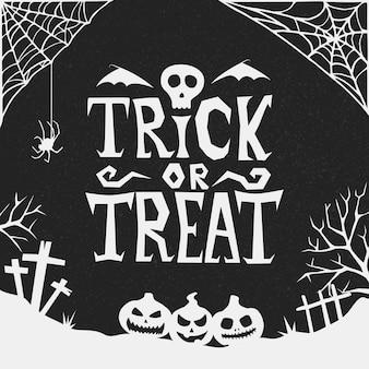 Handgezeichneter halloween-süßes oder saures vektorhintergrund. horror-halloween-poster mit handbeschriftung und dekorationselementen. partyeinladung, karte oder banner mit handgezeichneter kalligraphie