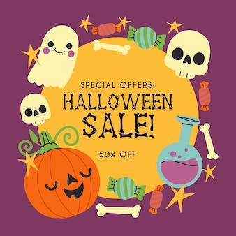 Handgezeichneter halloween-verkauf