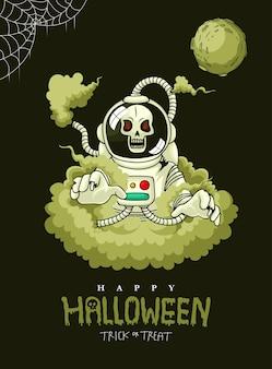 Handgezeichneter halloween-zombie-astronaut mit giftigem rauch