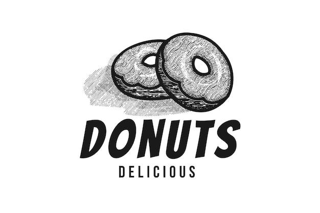 Handgezeichneter haufen donuts logo design inspiration