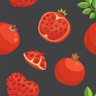 Handgezeichneter hintergrund der frischen granatäpfel