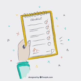 Handgezeichneter hintergrund der hand mit checkliste