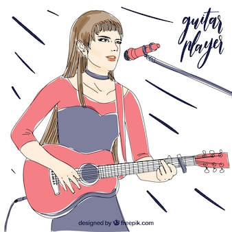 Handgezeichneter hintergrund des gitarristengesanges