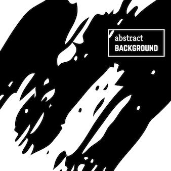 Handgezeichneter hintergrund mit abstrakten pinselstrichen. minimales schwarz-weiß-banner-design. vektor-illustration