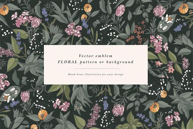 Handgezeichneter hintergrund mit vintage-aromapflanzen, früchten, gewürzen, kräutern für die parfümerie.