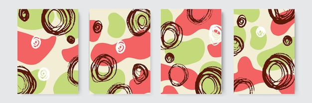 Handgezeichneter hintergrund. satz von abstrakten trendigen handgezeichneten formen und designelementen. abstrakte collage hintergrund hand bunt gezeichnet. schöne kunstmalerei mit handzeichnungselement gefärbt
