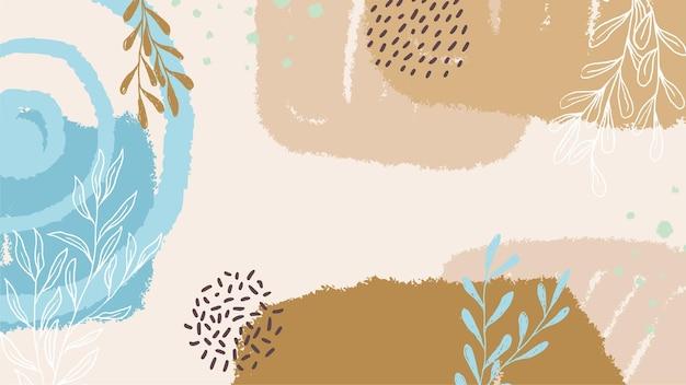 Handgezeichneter hintergrund von blättern in pastellfarben