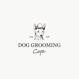 Handgezeichneter hund mit fedora-logo-vektor