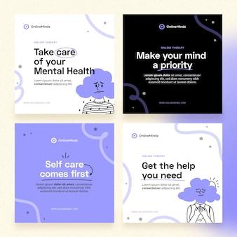 Handgezeichneter instagram-beitrag zur psychischen gesundheit