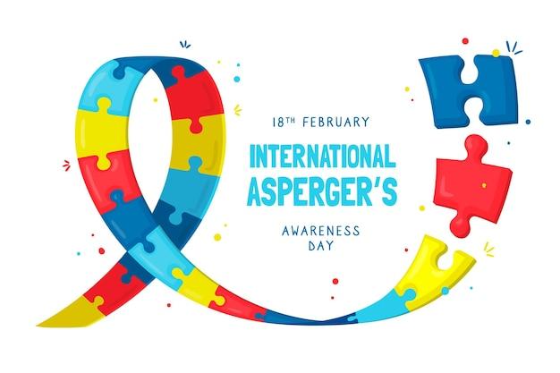 Handgezeichneter internationaler asperger-tag des bewusstseins