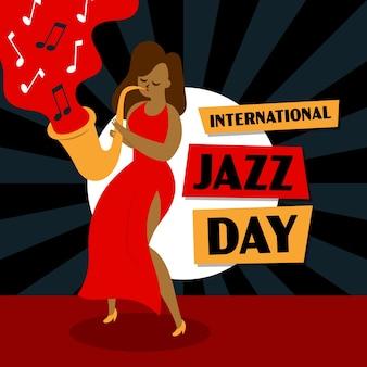 Handgezeichneter internationaler jazz-tag