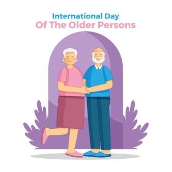 Handgezeichneter internationaler tag älterer menschen