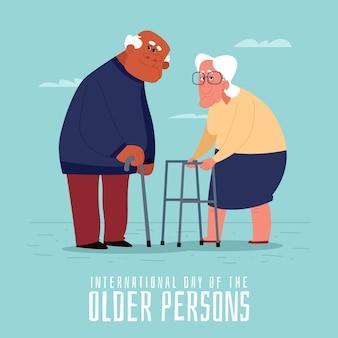 Handgezeichneter internationaler tag der älteren personen