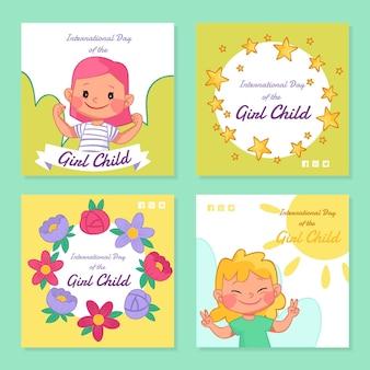 Handgezeichneter internationaler tag der instagram-posts-sammlung des mädchenkindes