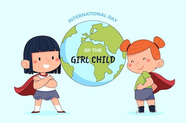 Handgezeichneter internationaler tag des mädchenkindhintergrundes