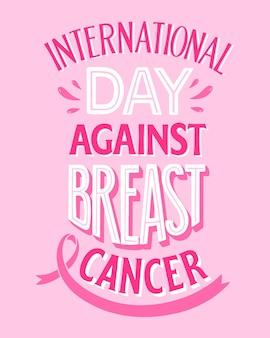 Handgezeichneter internationaler tag gegen brustkrebs-schriftzug