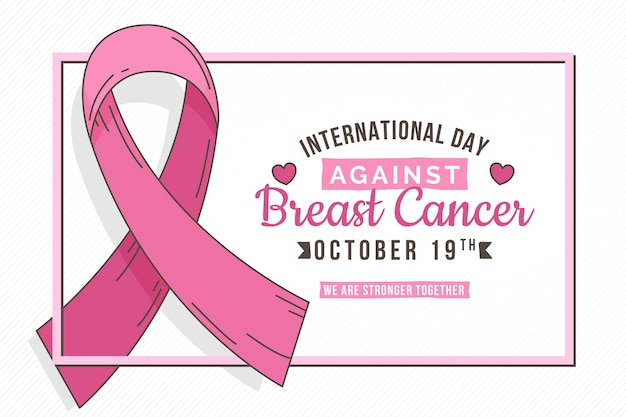 Handgezeichneter internationaler tag vor brustkrebshintergrund
