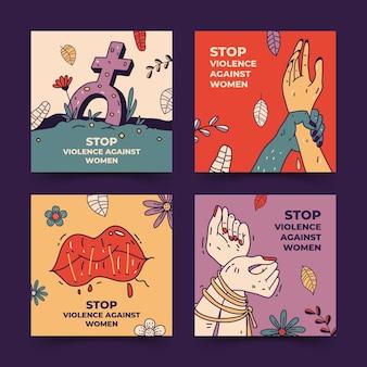 Handgezeichneter internationaler tag zur beseitigung von gewalt gegen frauen instagram-posts-sammlung