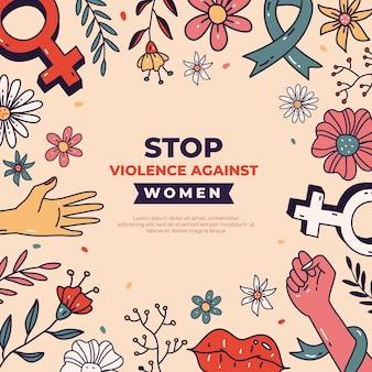 Handgezeichneter internationaler tag zur beseitigung von gewalt gegen frauenhintergrund