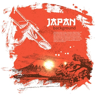 Handgezeichneter japanischer sushi-hintergrund