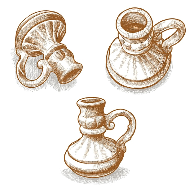 Handgezeichneter keramikkrug oder krug mit griff