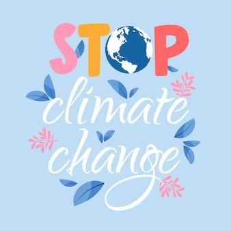 Handgezeichneter klimawandel-schriftzug