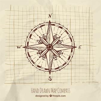 Handgezeichneter kompass
