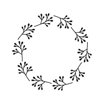 Handgezeichneter kranz auf weißem hintergrund schwarzer pflanzengekritzelkranz