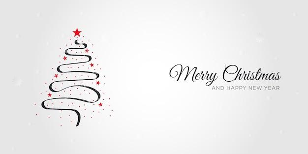 Handgezeichneter kreativer weihnachtsbaum-banner-hintergrund. weihnachten und neujahr hintergrund.
