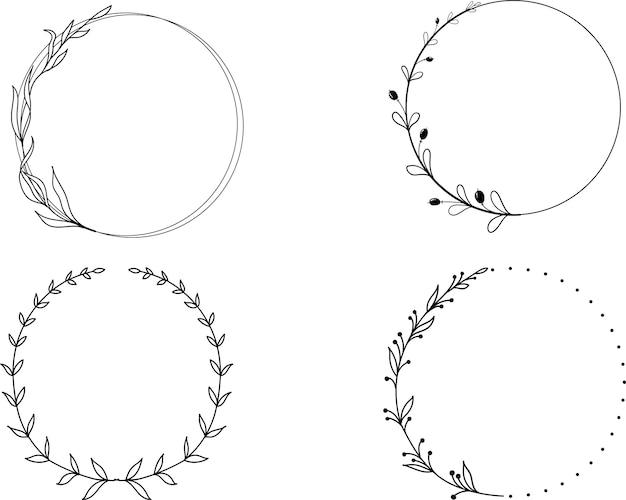 Handgezeichneter linearer kranz mit blumen und blättern im gekritzelstil