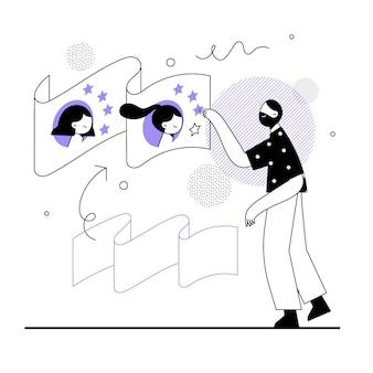 Handgezeichneter mann, der online-rezension gibt