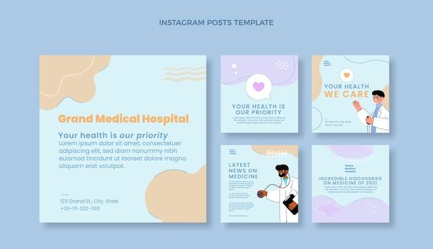 Handgezeichneter medizinischer instagram-post