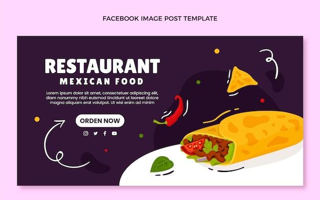 Handgezeichneter mexikanischer essen-facebook-post