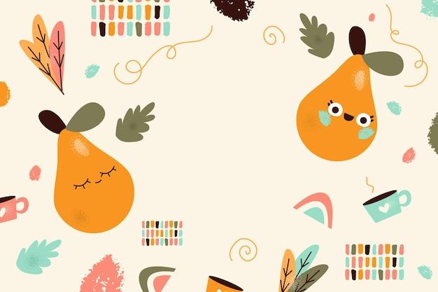 Handgezeichneter minimaler hintergrund mit früchten