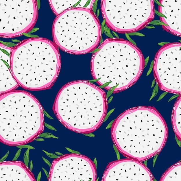 Handgezeichneter nahtloser muster-pitaya-fruchtdruck für sommertextilien