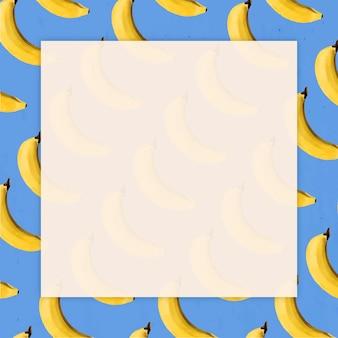 Handgezeichneter natürlicher, frischer bananenmusterrahmen