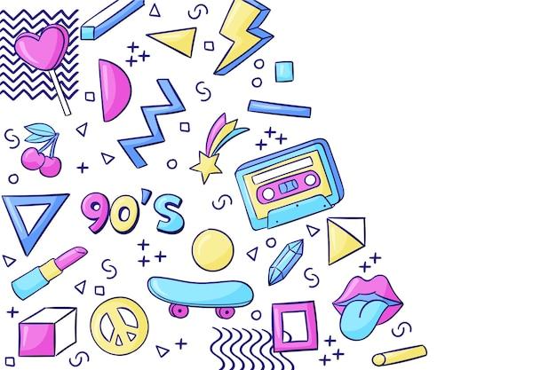 Handgezeichneter nostalgischer hintergrund der 90er jahre