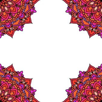 Handgezeichneter orientalischer dekorativer ethnischer spitzenkartenhintergrund für t-shirt-design, vintage-karte, partyeinladung, yoga-poster, mode-halstuch, schal, broschüren, geschenkalbum, sammelalbum usw