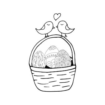 Handgezeichneter osterkorb mit eiern und kleinen vögeln. doodle-vektor-illustration im niedlichen zen-kunststil. element für grußkarten, poster, aufkleber und saisonales design. isoliert auf weißem hintergrund
