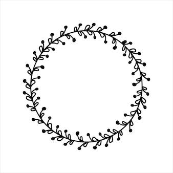 Handgezeichneter pflanzenkranz kreisblumenrahmen mit ästen schwarzer doodle-stil-rahmen