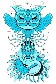Handgezeichneter porträtmann mit federn und ethnischen symbolen. vector hand gezeichnete hippie-illustration lokalisiert auf weißem hintergrund. boho-design, t-shirt-druck, tätowierungskunst