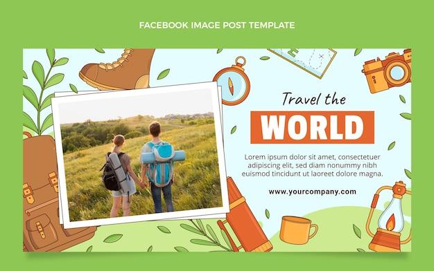 Handgezeichneter reise-facebook-post