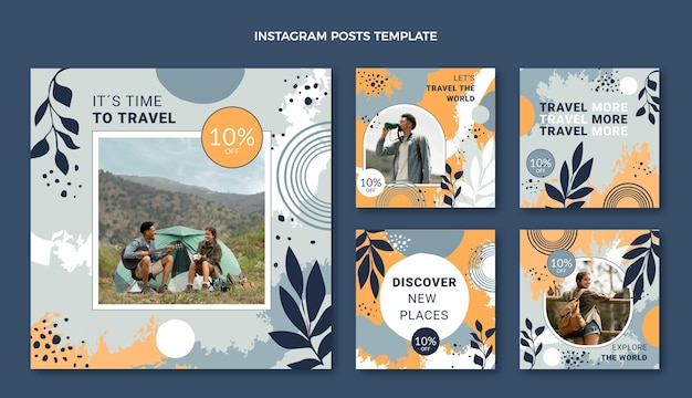 Handgezeichneter reise-instagram-post