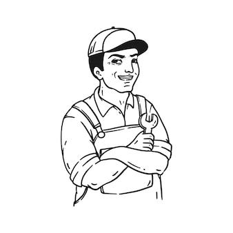 Handgezeichneter reparaturmann in der linienartillustration des weinlesestils lokalisiert auf weiß