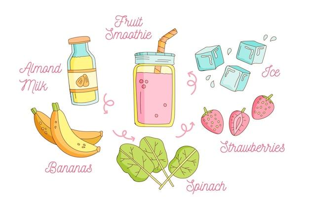 Handgezeichneter rezeptfruchtsmoothie